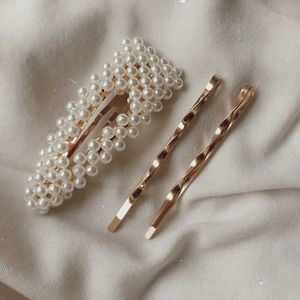 Pearl gold hair clip set of 3 barrette bobby-pins